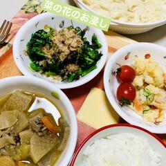ジャガイモ/ミニトマト/菜の花/茄子/玉ねぎ/ごぼう/... 今夜はポテトサラダを作りました〜🎶  け…(4枚目)