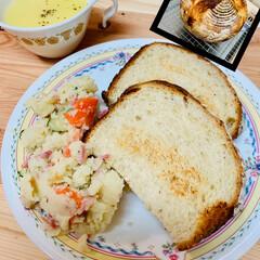 ポテトサラダ🥗/カンパーニュ/自家製天然酵母パン/スタミナ丼/夏に向けて/スタミナご飯/... 昨夜作ったポテトサラダとカンパーニュ☕️