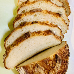 バヌトン型カンパーニュ/自家製天然酵母パン パンカット🗡(1枚目)