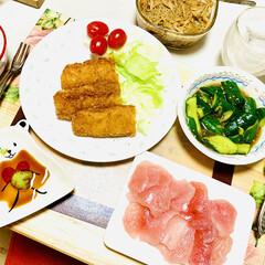 イカフライ/カジキマグロ/手作りなめ茸/叩ききゅうり/夕食 ご飯🍚がススムくんで〜す🤣🙌🏻✨✨(1枚目)