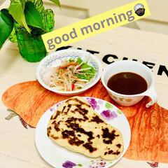 朝食/ナン/自家製天然酵母パン/手作りパン/ハンドメイド/手作り/... おはようございます🍁 今朝は曇り空で気温…(1枚目)