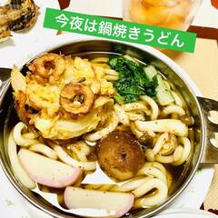 鍋焼きうどん/かき揚げ 今夜は天ぷらかき揚げ揚げて  鍋焼きうど…