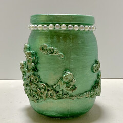 ガラス瓶/紙粘土/インテリア/雑貨/ハンドメイド/DIY/... ガラス瓶でお洒落ボトル💖  IKEAのメ…(3枚目)
