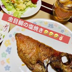 ポテトサラダ/金目鯛 今夜は、 金目鯛の塩焼きとポテトサラダ🥗…