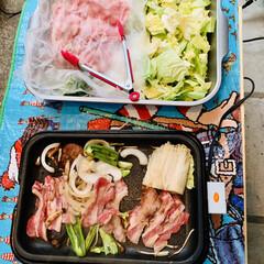 🍺ビール/野菜/肉/バーベキュー 今夜は外で焼肉パーティー🍻🥳🤣🙌🏻 自宅…(3枚目)