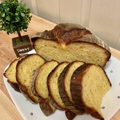 かぼちゃカンパーニュ/自家製天然酵母パン/おうちごはん/うちの定番料理 自家製天然酵母パン 🎃かぼちゃカンパーニ…