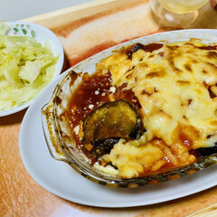 夕食/グルメ/茄子とトマトの重ね焼き いただきま〜す🤣🙌🏻💓(1枚目)