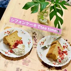 tea time☕️/シフォンケーキ 休憩Time😁✌🏻☕️  今日は、デコパ…
