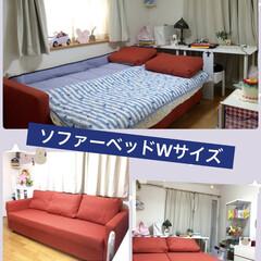 マイルーム/ソファーベッド/洋室/部屋全体/IKEA/北欧 私の部屋のベッドはソファーベッド ダブル…