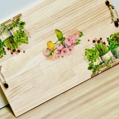 インテリア/デコパージュ/木製トレイ/ハンドメイド/DIY/簡単DIY/... 木製トレイ完成しました〜🙌🏻😆💖   s…(3枚目)