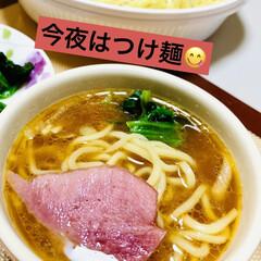 お家でごはん/つけ麺/夕食 今夜はつけ麺😋✌🏻💖💖💖