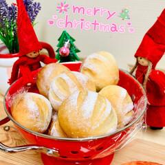 パーティーパン/グルメ/自家製天然酵母/クリスマス/Xmas🎄まん丸ミニパン/クリスマスツリー/... コロンと可愛いまん丸ミニパン🎄  残った…(1枚目)
