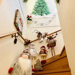 カインズ/Xmas人形/インテリア/クリスマスツリー/階段/ハンドメイド/... 我が家のクリスマスツリー🎄は、 3年目を…