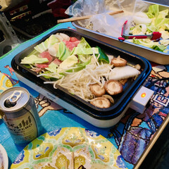 🍺ビール/野菜/肉/バーベキュー 今夜は外で焼肉パーティー🍻🥳🤣🙌🏻 自宅…(1枚目)