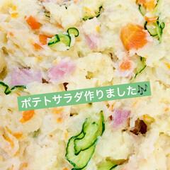 ジャガイモ/ミニトマト/菜の花/茄子/玉ねぎ/ごぼう/... 今夜はポテトサラダを作りました〜🎶  け…(1枚目)