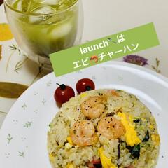 アイス抹茶/エビチャーハン/launch launch🥄は エビチャーハン🌟🌟🌟 …(1枚目)