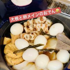 卵🥚/夕食/ストウブ鍋/大根/おでん🍢 めっちゃ大きな大根が¥89😅💦🖐🏻 さす…(1枚目)