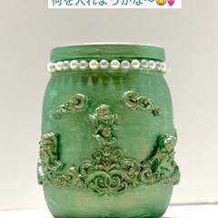 ガラス瓶/紙粘土/インテリア/雑貨/ハンドメイド/DIY/... ガラス瓶でお洒落ボトル💖  IKEAのメ…(6枚目)