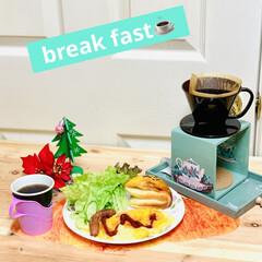 フライパン🍳/オール熱源対応/自家製天然酵母パン/グルメ/朝食/ポークウインナー/... 先程の投稿は、旦那様の朝食☕️  これは…