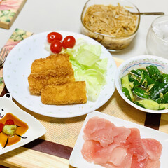 イカフライ/カジキマグロ/手作りなめ茸/叩ききゅうり/夕食 ご飯🍚がススムくんで〜す🤣🙌🏻✨✨(3枚目)