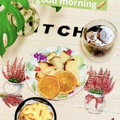 アイスコーヒー/トースト/チーズカンパーニュ/朝食/オレンジ/ドライフルーツ/... 今朝はチーズカンパーニュで トーストとド…(1枚目)