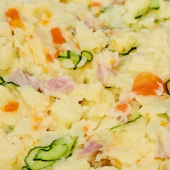 ジャガイモ/ミニトマト/菜の花/茄子/玉ねぎ/ごぼう/... 今夜はポテトサラダを作りました〜🎶  け…(2枚目)
