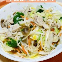 肉野菜炒め/夕食 こんばんは〜🌠  今夜は肉野菜炒め〜🎶🎵(1枚目)