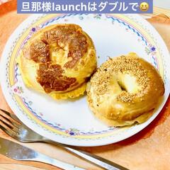 スクランブル/サンド/ベーグル/自家製天然酵母パン/手作りパン/ハンドメイド/... launchは、朝と同じベーグル🥯サンド…(1枚目)