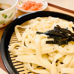 自家製紅生姜/ざるうどん/スタミナ丼/夏に向けて/スタミナご飯/スタミナ飯/... lunchは、🏠で ざるうどん😋✌🏻🎶(1枚目)
