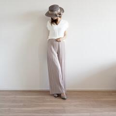 カンカン帽/プリーツ/fifth/ファッション/プチプラ/UNIQLO/... プリーツパンツ!可愛くて購入したら足の長…