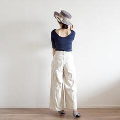 カンカン帽/コーディネート/GAP/ファッション/夏ファッション/ユニクロ/... gapでつい購入した背中見せが可愛いTシ…