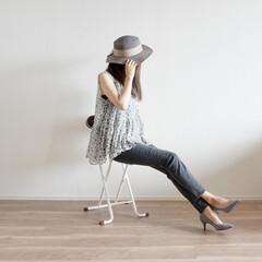 プチプラ/コーディネート/カンカン帽/ファッション/夏ファッション/ユニクロ/...  やっぱり可愛い✨グレーのデニムか…
