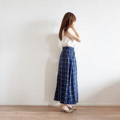 ニット/全身GU/ファッション/おしゃれ/夏ファッション/GU  大人可愛くニットと、チェックのスカート…