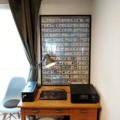 アイアンレール/帆布カーテン/エプソン/年代物/イームズチェア/ミッドセンチュリー/... リビングのデスクは60年前の机とハーマン…