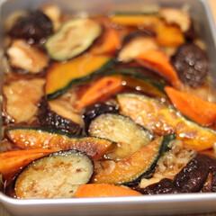 余り物/ジンギスカン/野菜の焼き浸し ジンギスカンした時に残った食材で夕飯用に…