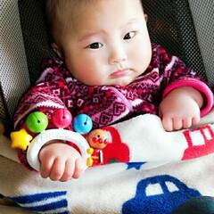 アンパンマン/赤ちゃん/生後4ヶ月/乳児/育児/子育て/... 今日の息子(⚈ ̍̑⚈͜ ̍̑⚈)💛