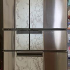 100均リメイクシート/令和の一枚/100均/ダイソー 冷蔵庫扉にリメイクシート完成💕 下の引き…