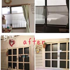 窓枠リフォーム 茶色の窓が気に入らなくて 娘の部屋の窓を…