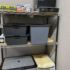 在宅ワークスペース/パイプ棚/100均/ダイソー/セリア/キャンドゥ/... 仕事部屋のパイプ棚収納  コーヒーメーカ…