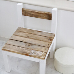 DIY/木工/キッズチェア/椅子 /子ども/ターナーミルクペイント/... キッズチェア作りました♡ 塗料は ターナ…