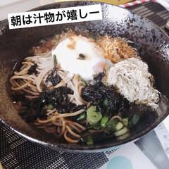 料理好き/蕎麦/朝ごはん/おうちごはん/おうちごはんクラブ 朝は汁物がすきで、日本蕎麦にしました。 …