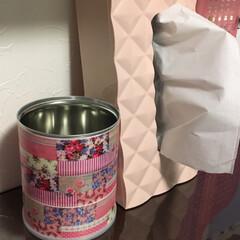 リメイク ピンク色のティッシュケースとマスキングテ…