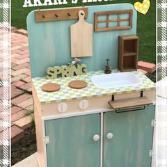 DIY/100均/インテリア/キッズ 孫の為に作ったキッズキッチン。カラボと1…