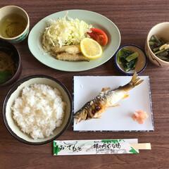 鮎の塩焼き/おでかけワンショット やな場で鮎の塩焼き定食を食べました。鮎の…