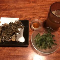 美味/わたしのGW 沖縄の海ぶどうともずくの天ぷら。海ぶどう…
