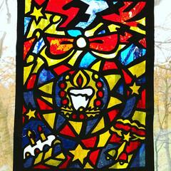 切り絵/クリスマス 手作りのステンドガラスみたいな切り絵。 …