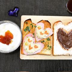 ハートランチ/バレンタイン2019 ハートだらけのランチ。トーストにおからサ…