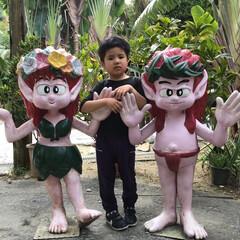 琉球村/わたしのGW 沖縄の琉球村。沖縄らしいマスコットとはい…
