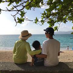 幸せ/わたしのGW 沖縄の青い海を家族3人で眺めてるだけで幸…