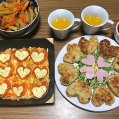 ハートクッキング/バレンタイン2019 ハートのディナー♡ ハートのおからハンバ…